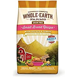 Whole Earth Farms Grain Free Small Breed Chicken & Turkey Recipe Dry Dog Food, 12 LB