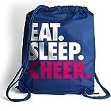 Eat. Sleep. Cheer. Cinch Sack | Cheerleading Bags by ChalkTalk SPORTS | Royal