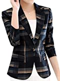 Fubotevic Womens Long Sleeves OL Business Plaid Formal Blazer Blue L