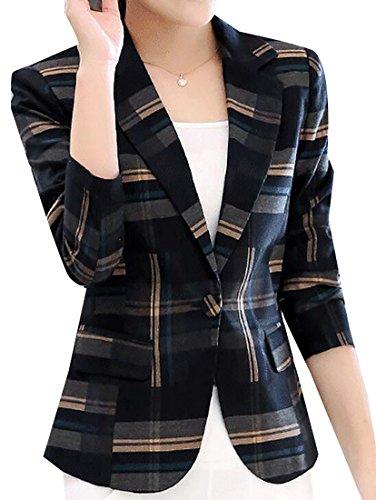 Womens Casual Plaid 1 Button OL Blazer Formal Suit Coat Blue XL