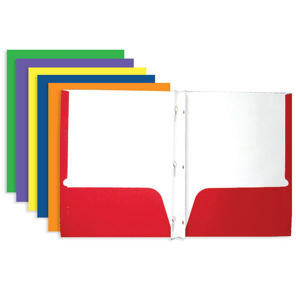 Bazic 3145-100 2-Pocket Portfolios with 3-Prong Fastener, Case of 100 (Assorted Colors)