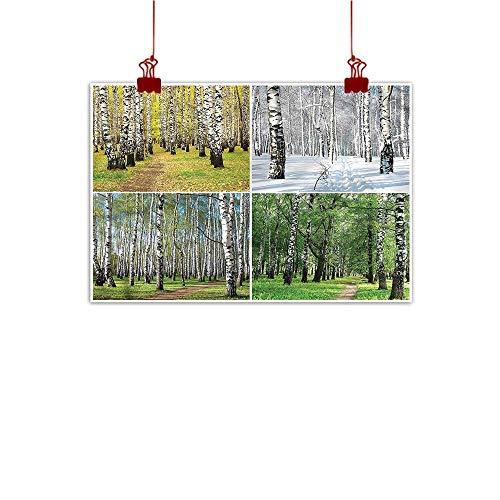 Nursery River Birch - Anyangeight Wall Art Painting Print Landscape,Fall Winter Birch Tree 48