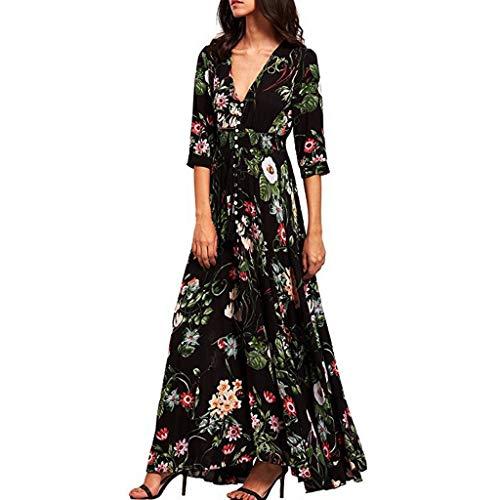 Women's Bohemian Floral Printed Wrap V Neck Short Sleeve Button Up Long Dresses Split Flowy Beach Party Maxi Dress Black