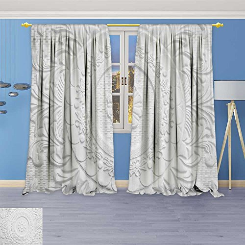 SOCOMIMI Twigs Fashion Design Print Thermal Insulated Blackout Curtain antique white plaster ceil plate vintage victorian style with Tops for Bedroom 108W x 108L (Antique White Twigs)