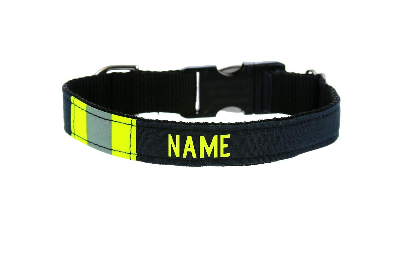 Fully Involved Stitching Personalized Firefighter Dog Collar Made from Black Repurposed Turnout Bunker Gear Material (Large (17''-25''))
