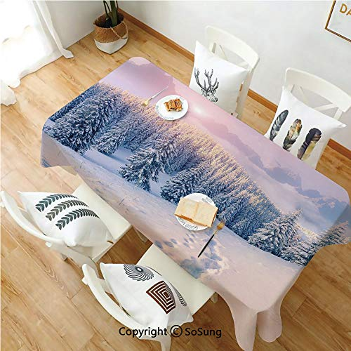 (Mountain Rectangle Polyester Tablecloth,Idyllic Winter Morning in Woodland Rising Sun Pine Trees Forest Snowy Foggy,Dining Room Kitchen Rectangle Table Cover,54W X 90L inches,Light Pink White)