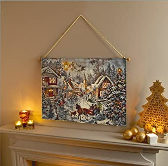 Beautiful 70cm Christmas Snow Village Hanging Wall Tapestry with LED Lights - Indoor: Amazon.co ...