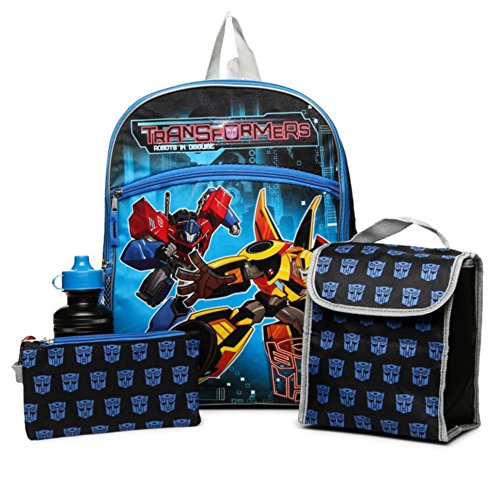 Lunch Case Set (Transformers 5-pc backpack, Lunch Bag, Pencil Case, Water Bottle, & Carabiner Clip - Set)