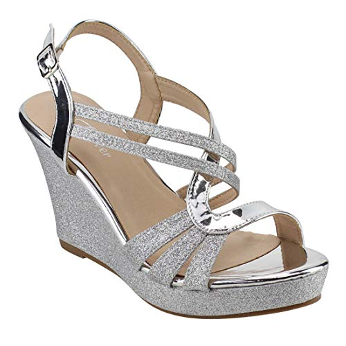 (FOREVER FQ22 Women's Glitter Strappy Wrapped Wedge Heel Platform Sandals, Color Silver, Size:6.5)