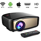 """Mini Projector, 1200 lumens Wireless Video Projector with 200"""" Display and 50,000 Hour LED Full HD 1080P, Compatible with HDMI, VGA, USB, AV for Home Theater"""
