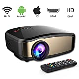 Mini Projector, 1200 lumens Wireless Video Projector with 200'' Display and 50,000 Hour LED Full HD 1080P, Compatible with HDMI, VGA, USB, AV for Home Theater