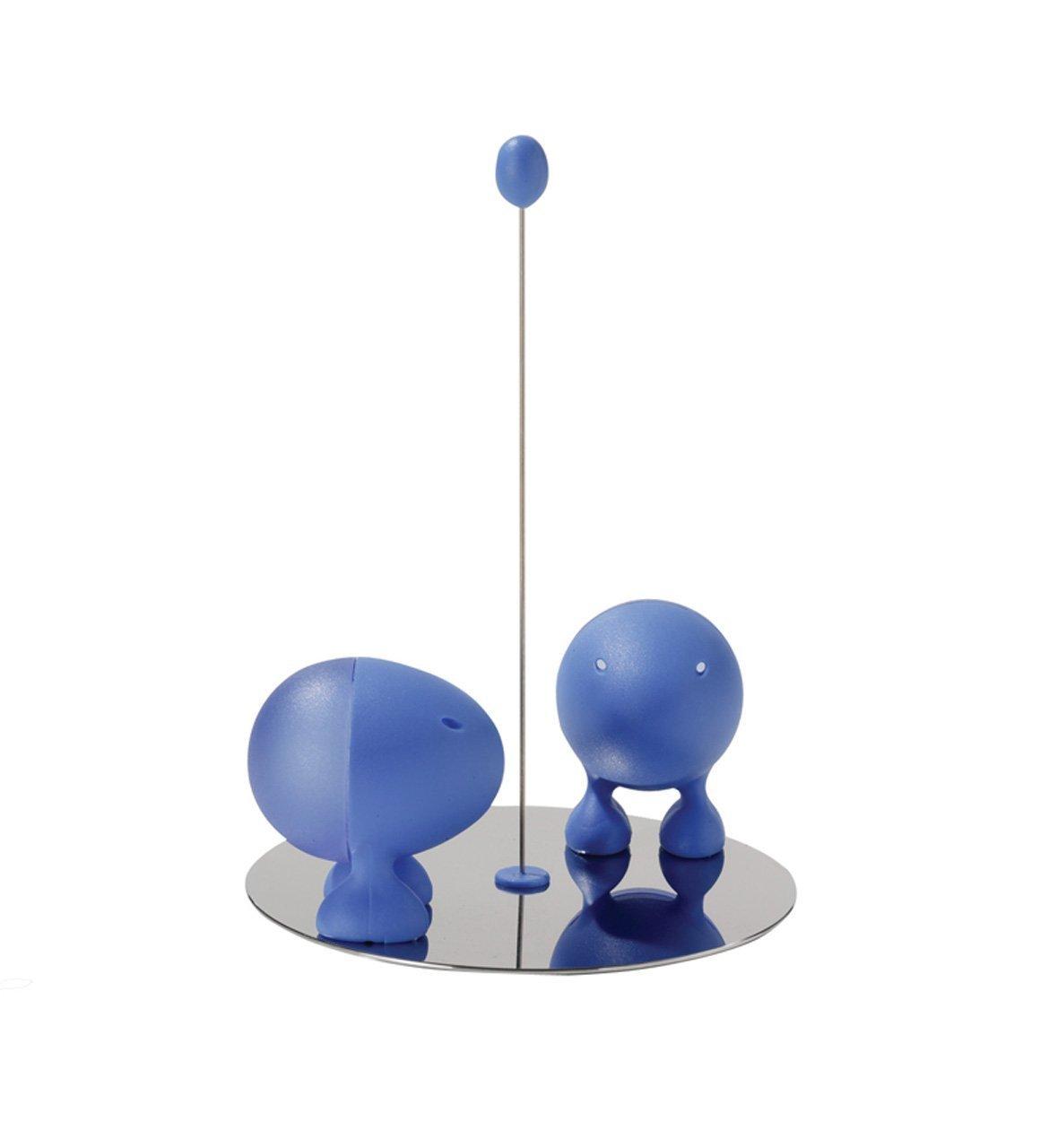 A di Alessi Lilliput Salt and Pepper Set with Magnetic Base, Blue (ASG02 AZ) Giovannoni Stefano Serveware_ Salt_Pepper Tabletop