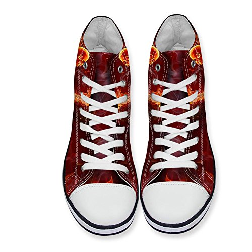 Skull Canvas High U Pattern Fire Sneakers Shoes Lacing FOR Men DESIGNS 3D Top FqW7p