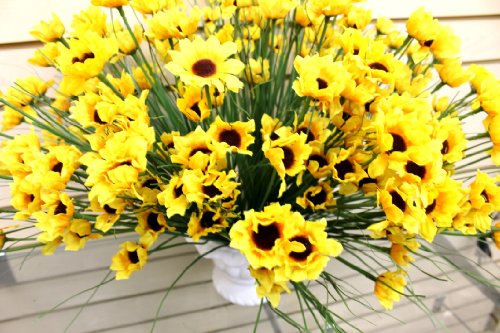 Artificial Bright Yellow Sunflowers Realistic Outdoor Indoor Flower Centerpiece Sold in Sets of Twelve 1246