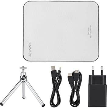 Opinión sobre Fabater Mini proyector, proyector de teléfono inalámbrico/con Cable Compatible con Pantalla de 100 '', proyector portátil 4K de 2000 lúmenes, Compatible con Android/iOS/HDMI/USB(EU Plug)