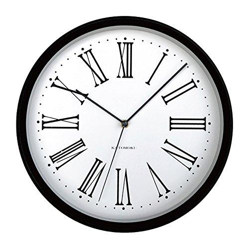 KATOMOKU muku round wall clock 5 ローマ数字 ブラック 電波時計 連続秒針 km-58BRC φ306mm B0728MTVX5