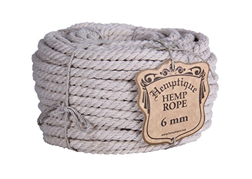 Hemptique 6mm Hemp Rope Twisted - Natural Twisted