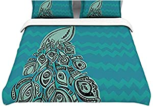 Kess InHouse Brienne Jepkema Peacock Blue II Teal Green 104 by 88-Inch Cotton Duvet Cover, King