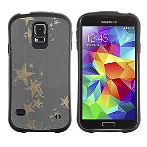 """Pulsar iFace Series Tpu silicona Carcasa Funda Case para Samsung Galaxy S5 , Patrón Estrella de Oro Gris Bling Tela Tela"""""""