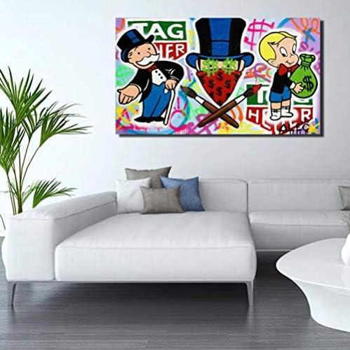 GHKNB Impresiones sobre Lienzo 1 Unidades Alec Monopoly Tag Heuer Lienzo Póster Pintura Pared Arte Imagen Impresión Moderna Decoración del Dormitorio del Hogar (60X90 Cm) con Marcos: Amazon.es: Hogar