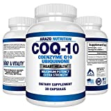 Cheap COQ10 Ubiquinone Coenzyme Q10-200mg Maximum Strength Nutritional Supplement – High Absorption Capsules with No Soy – Arazo Nutrition USA