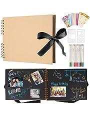 Scrapbook fotoalbum 80 svarta sidor minnesalbum anpassningsbara, 30 x 20 cm klippböcker DIY fotoalbum för baby, barn, med 12 metalliska markörpennor, för familj, bröllopsminnesbok