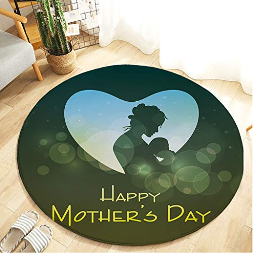 Mother's Day Series - Printed Round Flannel Kitchen Anti-Slip Mats Children's Room Carpet Beautifully Decorated Rug,Thanks for Mother by cnnIUHA (Image #4)