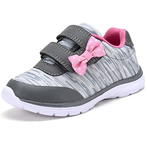 D.SEEK Toddler Fashion Sneakers Casual Sport Shoes with Cute Bowknot SC303 GY/PNK-9 Grey/Pink]()