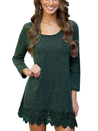 Giotto Women's long Sleeve A-line Lace Stitching Trim Casual T-shirt Dress Green M (Shirt Trim Dress)
