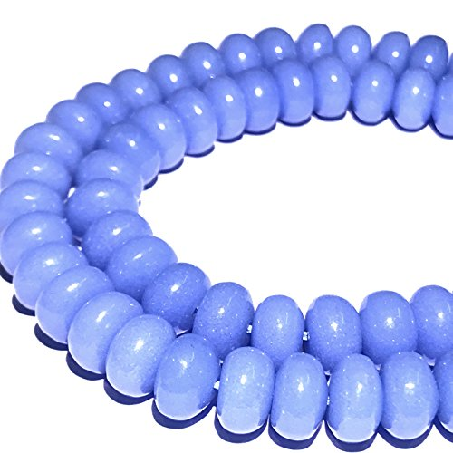 [ABCgems] Glow in Dark Mexican Blue Aragonite AKA Cave Calcite (Extremely Rare- Exquisite Color) 8mm Smooth Rondelle Beads for Beading & Jewelry Making