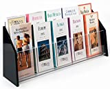 Displays2go Clear Acrylic Brochure Holders with 10 Pockets for 4 x 9 Inches Pamphlets, Countertop Literature Racks with Black Acrylic Sides (TRS10)