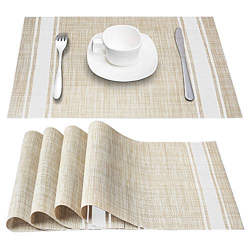 DACHUI Placemats, Heat-Resistant Placemats Stain Resistant Anti-Skid Washable PVC Table Mats Woven Vinyl Placemats, Set of 6 (White)