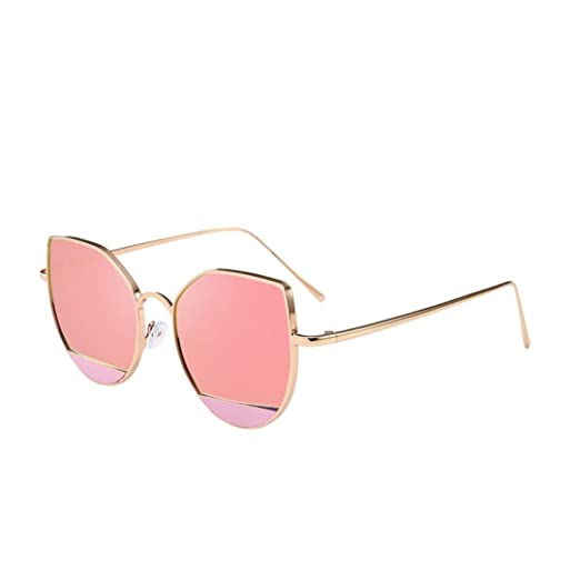 59c623562 Transer Women Men Vintage Cat Eye Shades Metal Frame Mirror Sunglasses  Glasses (A - B