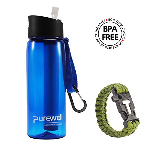 Personal Water Filter Bottle with 2-Stage Integrated Filter Straw for Hiking- Include Paracord Bracelet with Fire Starter 22 ounces 650ml