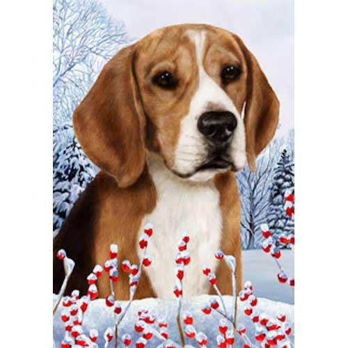 Winter Berries Garden Size Flag Beagle