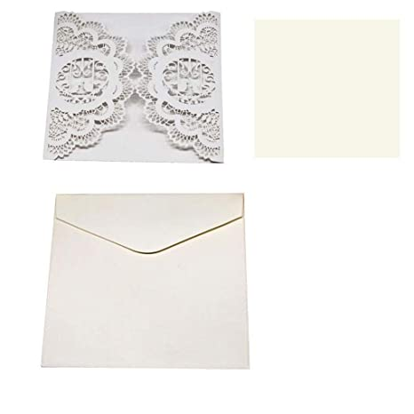 Cards Invitations 50pcs Pearl Paper Lace Invitation Card