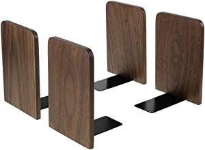 Bookends, Book Ends for Shelves, Metal Base Bookends Non-Skid Heavy Duty Wood Bookends for Heavy Books Office Desk DVD Walnut Black 6.69 X 4.7 X 4.1inch, 2Pair/4 Pieces (Big Size)