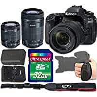Canon EOS 80D DSLR Camera Bundle with Canon EF-S 18-55mm f/3.5-5.6 IS STM Lens + Canon EF-S 55-250mm f/4-5.6 IS STM Lens + 32gb Memory SD Card + Grip Strap - International Version (No Warranty)