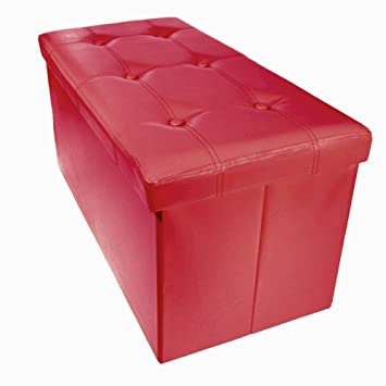 Storage Bench Ottoman Faux Leather Foldable Collapsible Foot Rest Coffee Table With Lift Top