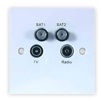 quadplexed sky satellite tv dab aerial wall socket amazon co uk rh amazon co uk NuTone Doorbell Wiring Motor Starter Wiring
