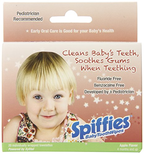 Spiffies Apple Flavored Baby Tooth Wipes, 20 Count