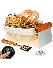 25.4 سم، سلة مقاومة للخبز، من ويرتيو + قطعة خبز لام الخبز + مكشطة عجينة + كتان بطانة القماش للخبازين المحترفين والمنزلين