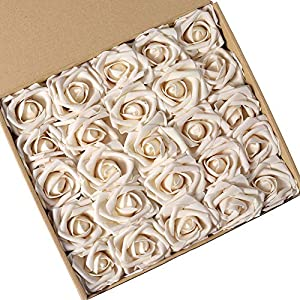 N&T NIETING Artificial Flowers Roses, 25pcs Real Touch Artificial Foam Roses Decoration DIY for Wedding Bridesmaid Bridal Bouquets Centerpieces, Party Decoration, Home Display (Cream) 82