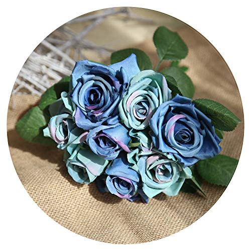 Artificial Silk 1 Bunch French Rose Floral Bouquet Fake Flower Arrange Table Daisy Wedding Flowers Decor Party Accessory Flores,Sapphire -
