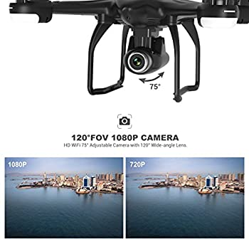 Potensic T18 GPS FPV RC Drone with Camera Live Video and GPS Return Home Quadcopter with Adjustable Wide-Angle 1080P HD WIFI Camera