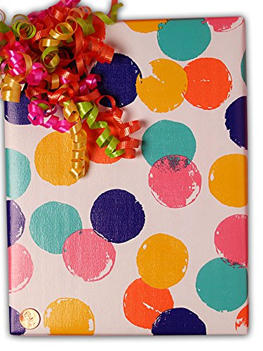 30'' X 15' Hand Stamped Polka Dots Gift Wrap by Paper Mart