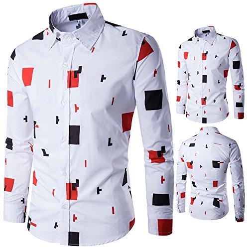 Men Shirts Daoroka Personality Casual Long Sleeve Printed Button Business Blouse Collar Work Wear Slim Fit Fashion Tops Comfort T Shirt (M, Orange) ()