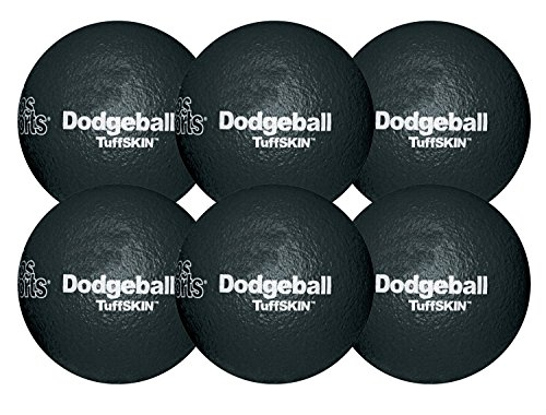 RuffSKIN 6'' Black Dodgeball-Set of 6 by Palos Sports