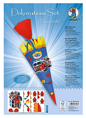 Ursus 9880009F Decorative Set Fire Brigade 4 Sheets Craft Card DIN A4 Printed on Both Sides Pre-Cut Grooved for Decorating a School Cone Partially Finished with Satin Ribbon Colourful