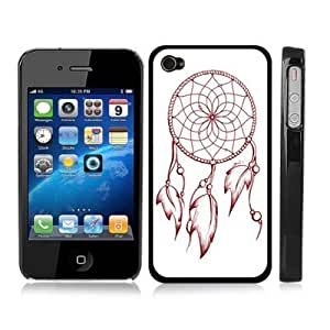 Dreamcatcher Feather Snap-On Cover Black Hard Carrying Case for iPhone 4/4S